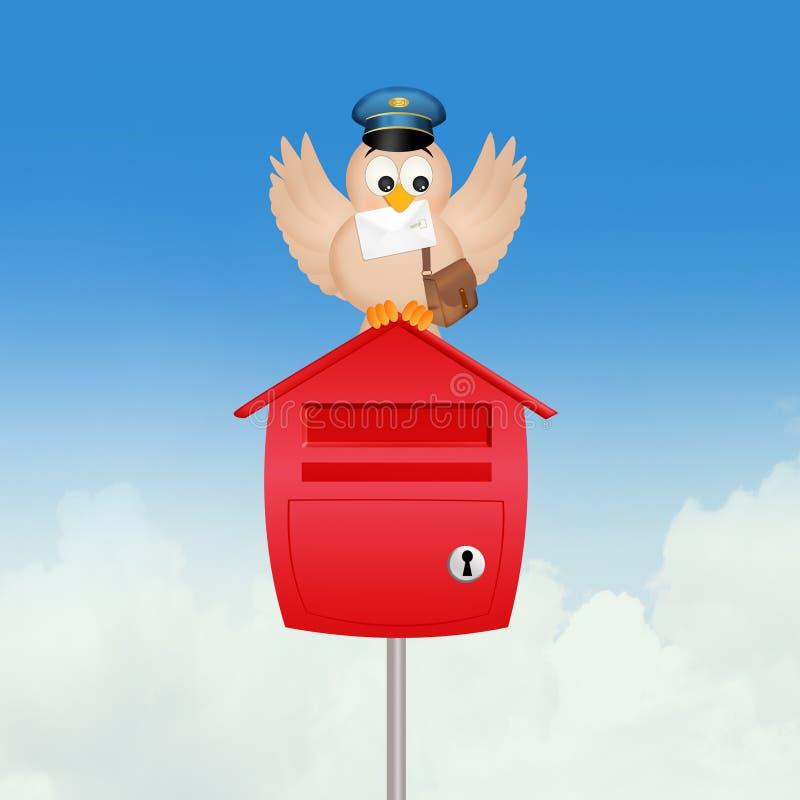 Facteur et boîte aux lettres d'oiseau illustration libre de droits