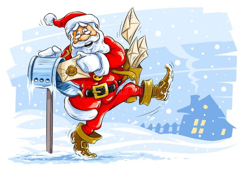 Facteur heureux du père noël avec des lettres de Noël illustration libre de droits
