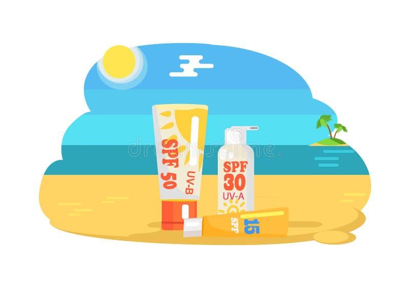 Factor de protección del SPF Sun y crema hidratante de etiquetado ilustración del vector