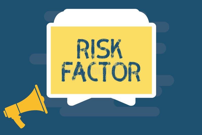 Factor de riesgo de la escritura del texto de la escritura Significado del concepto algo que sube la ocasión de una a que se conv stock de ilustración