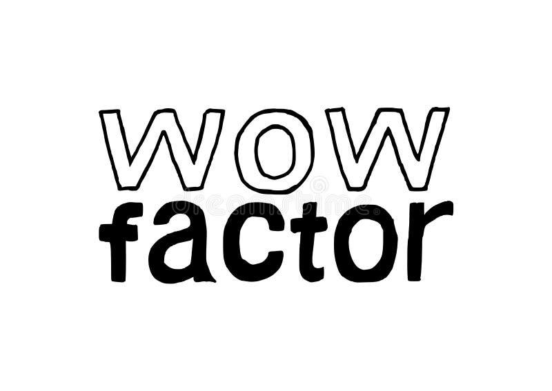 Factor del wow - letras dibujadas mano aisladas ilustración del vector