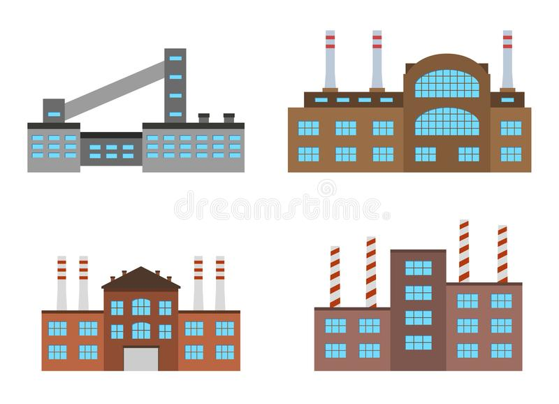 Factories set isolated on white background. Factory icon in the flat style. royalty free illustration