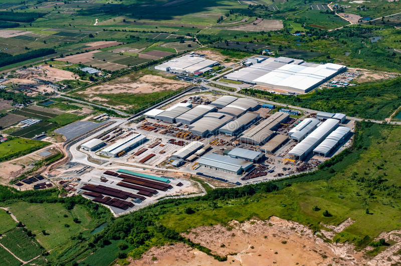 Factories and Storage Facilities Aerial View royalty free stock photos