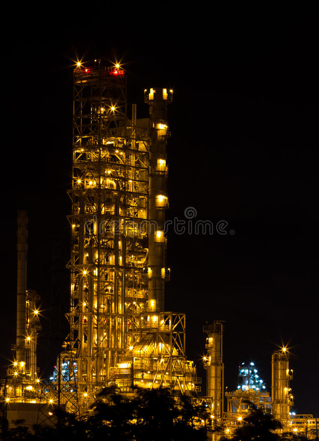 Factories are working at night. royalty free stock image