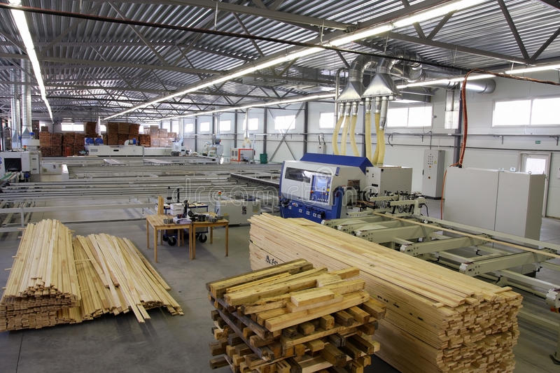 Factory. Wooden manufacture factory plant with equipment stock photos