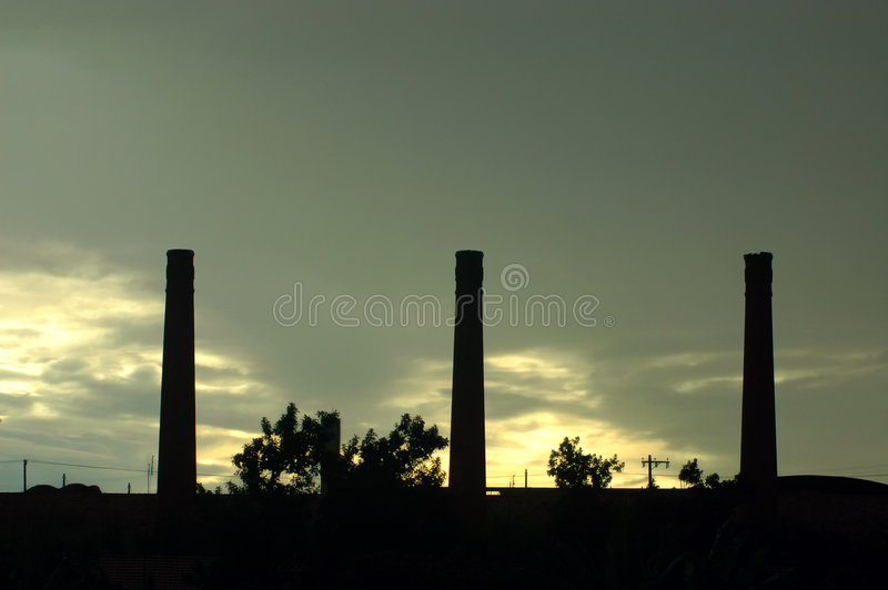 Factory. A chimneys factory stock photo