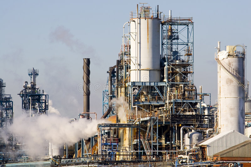 Factory 8. A chemical factory in full production stock photo