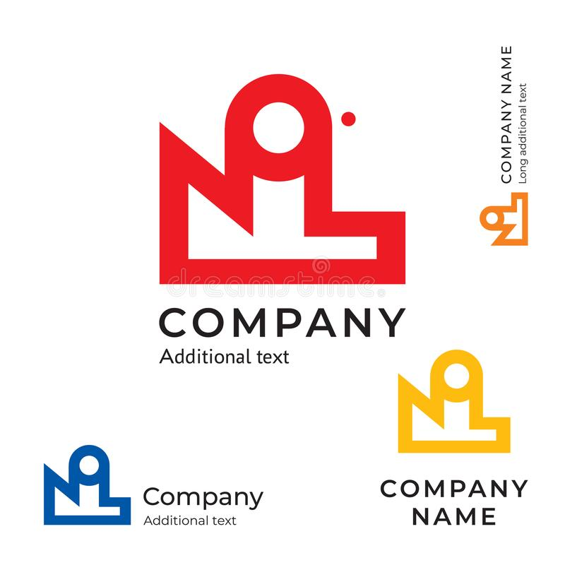 Factory Abstract Logo Modern Simple and Clean Identity Brand Icon Commercial Symbol Concept Set Template royalty free illustration