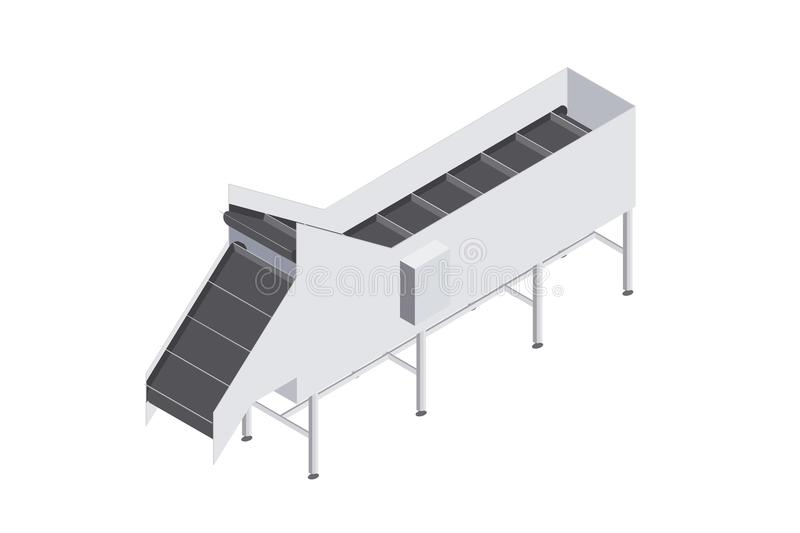 Factory automated with conveyor belt with volumetric capacity. Automated production line in the plant. Machinery for food engineering. Isometric vector flat 3d vector illustration