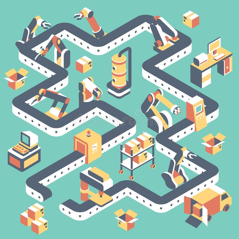 Factory automated production line vector flat isometric illustration. With conveyor belt, industrial robots and manufacturing equipment stock illustration