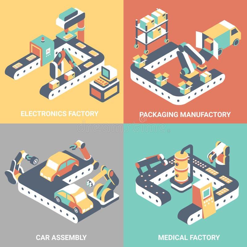 Factory automation concept vector flat isometric poster set. Factory automation vector flat isometric poster set. Electronics factory, Packaging manufactory, Car vector illustration