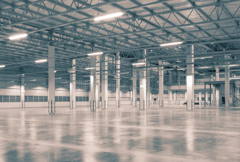 Factory. Background with concrete floor, night scene royalty free stock photos