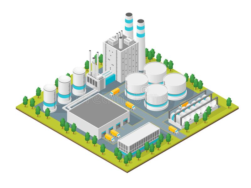 Factory Concept 3d Isometric View. Vector. Factory Building Concept 3d Isometric View Element Map Isolated on White Background Industrial Structure Construction royalty free illustration