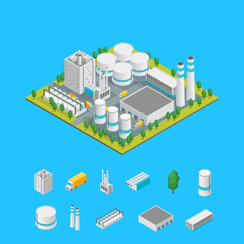 Factory and Elements Concept 3d Isometric View. Vector. Factory Building and Elements Concept 3d Isometric View Element Map Industrial Structure Construction and vector illustration