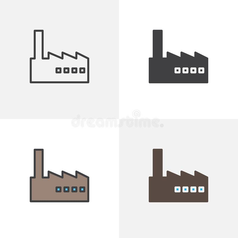 Factory building icon. Line, glyph and filled outline colorful version, factory station outline and filled vector sign. Symbol, logo illustration. Different vector illustration
