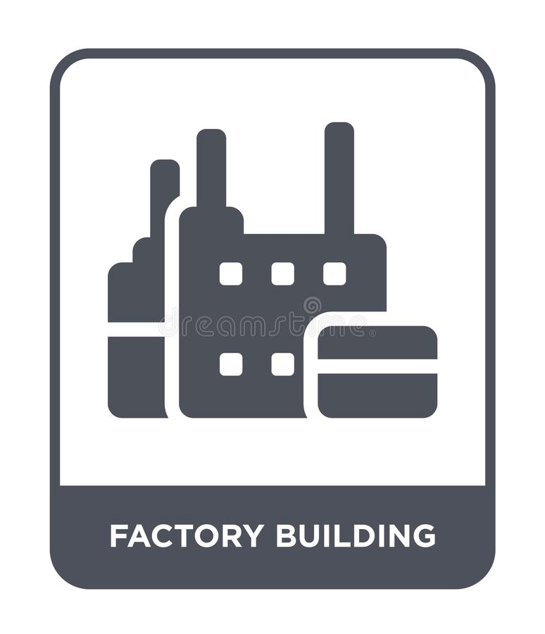 factory building icon in trendy design style. factory building icon isolated on white background. factory building vector icon stock illustration