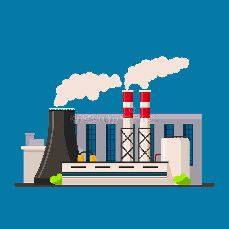 Factory building icon vector flat style. Manufacturing buildings. vector illustration