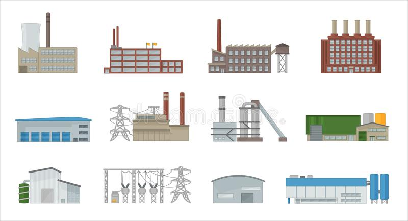 Factory building icon vector set in flat style vector illustration