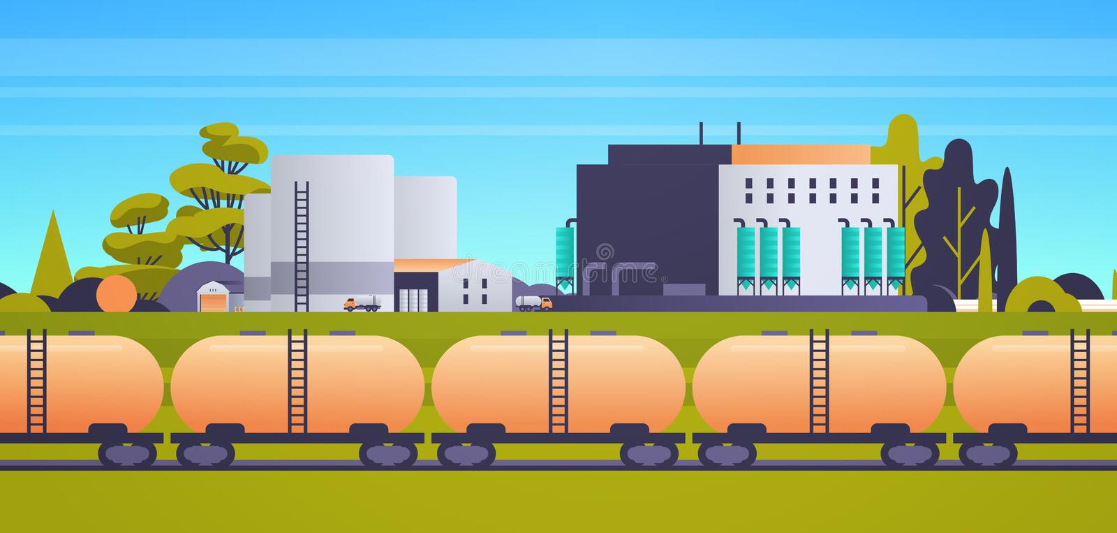 Factory building industrial zone plant power station production technology concept train tanks with oil and fuel. Cityscape background horizontal flat vector vector illustration