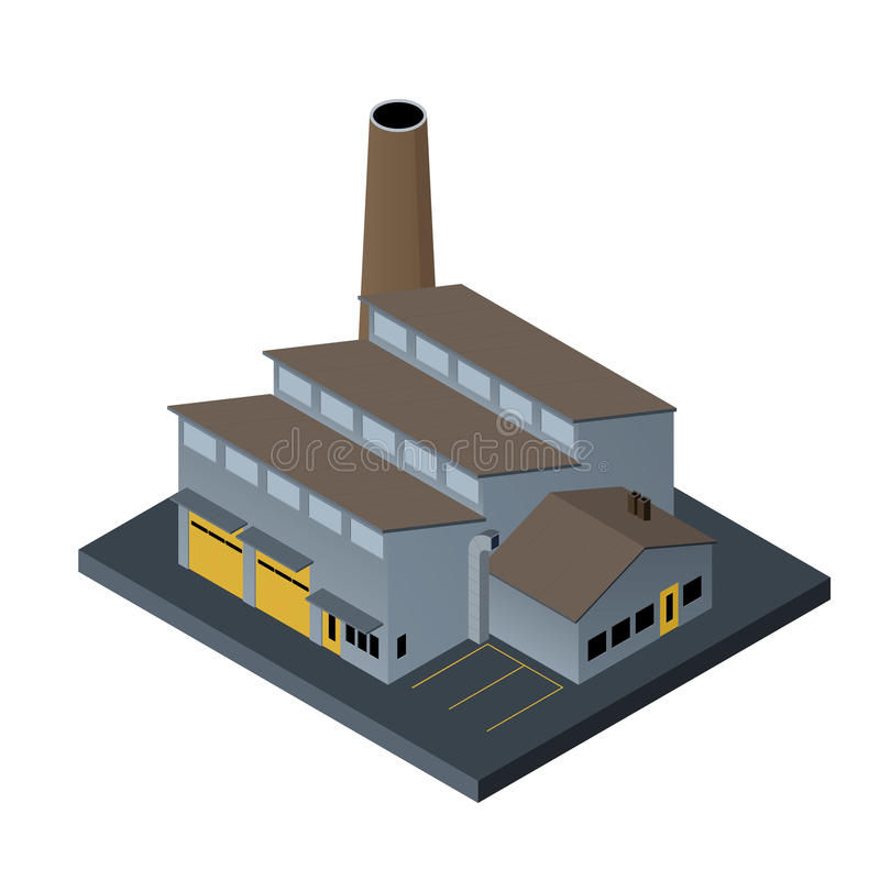 Factory building in isometric projection on white background. Vector illustration of factory building in isometric projection royalty free illustration