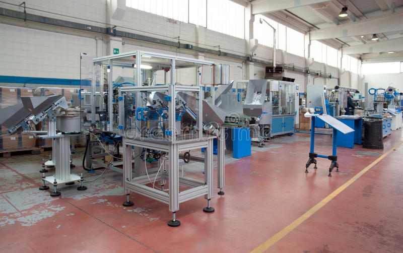 Factory - Building line e machine for automation. In this plant are builds machines and modules for the automation of assembly processes in all main segments of stock images