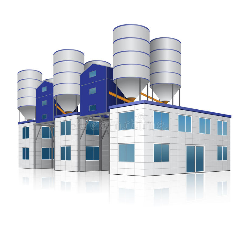 Factory building for the production of concrete with reflection stock illustration
