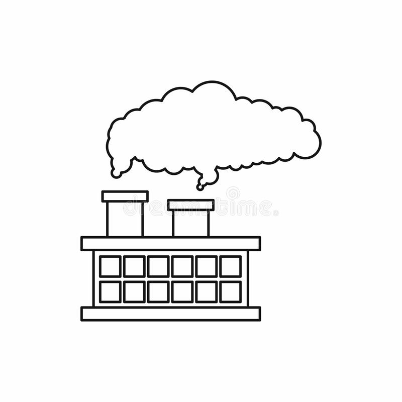 Factory building with smoking pipes icon royalty free illustration