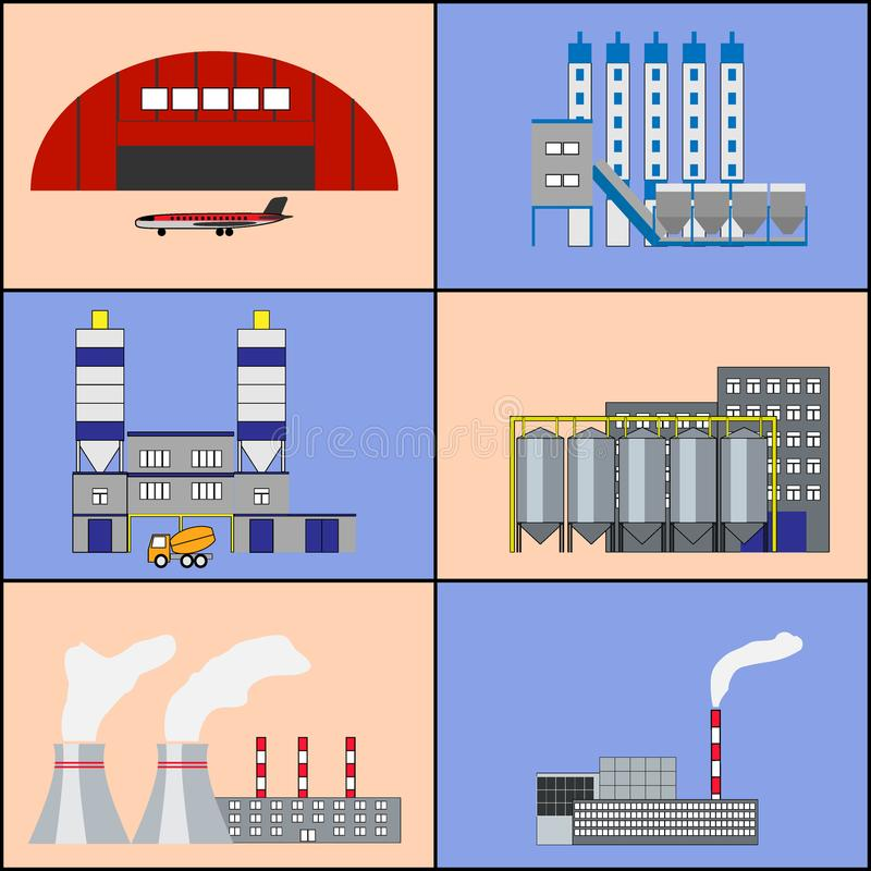 Factory buildings and power plants icons. Flat design. Industrial factory buildings, manufactory, hangar with plane, heat electric station, plant icons set stock illustration
