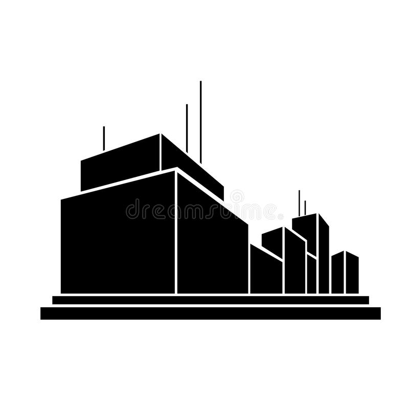 Factory business office building silhouette icon. Modern factory business office building, real estate silhouette icon stock illustration