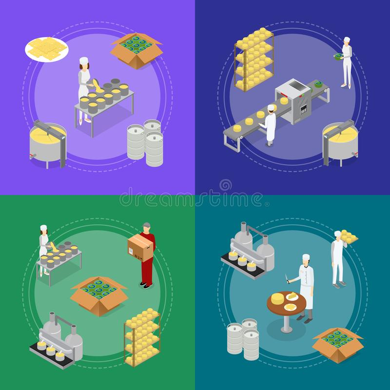 Factory Cheese Production Line Banner Card Set. Vector vector illustration