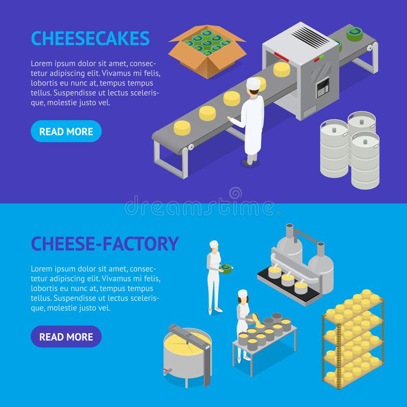 Factory Cheese Production Line Banner Horizontal Set. Vector vector illustration