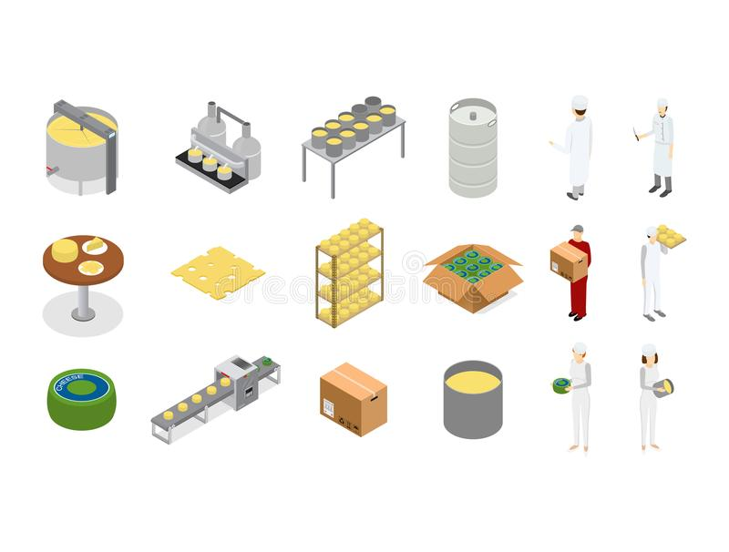 Factory Cheese Production Line Element Set and Staff. Vector vector illustration