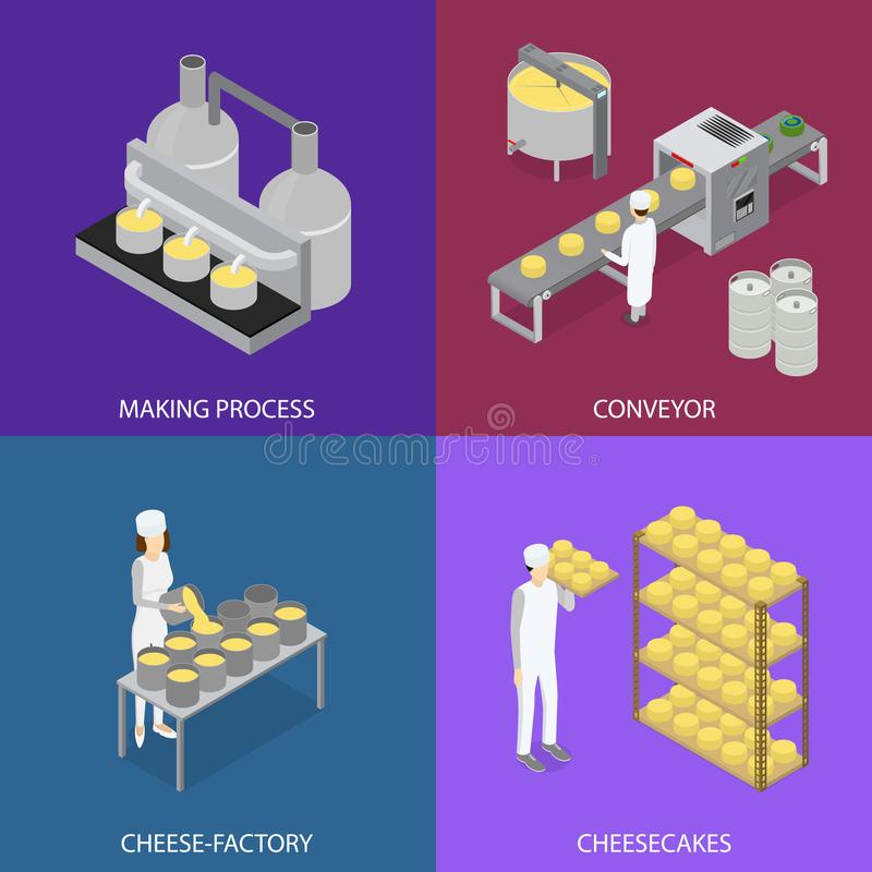 Factory Cheese Production Line Elements and Staff Banner Card Set . Vector royalty free illustration
