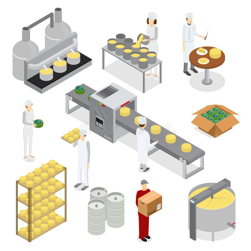 Factory Cheese Production Line Elements and Staff. Vector royalty free illustration