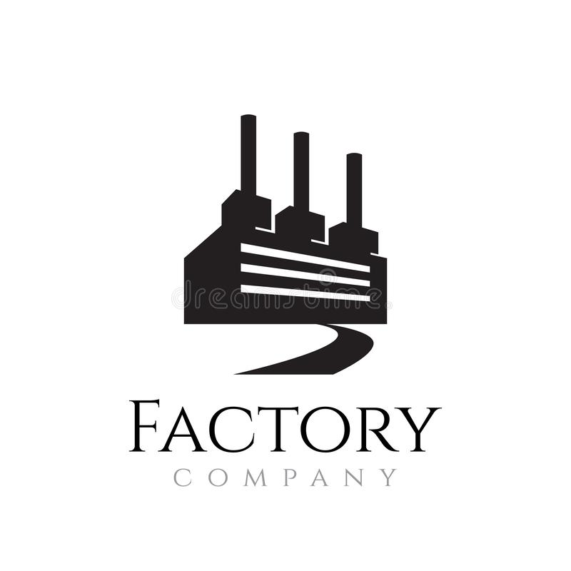 Factory Chimney Company Simple Clean Industry-logo vector illustratie