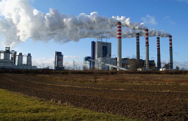 Factory chimney, power station royalty free stock photos