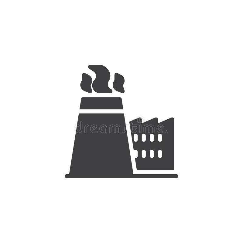 Factory chimney with smoke vector icon royalty free illustration