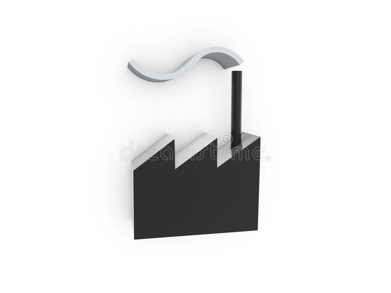 Factory with chimney. Symbol on white background