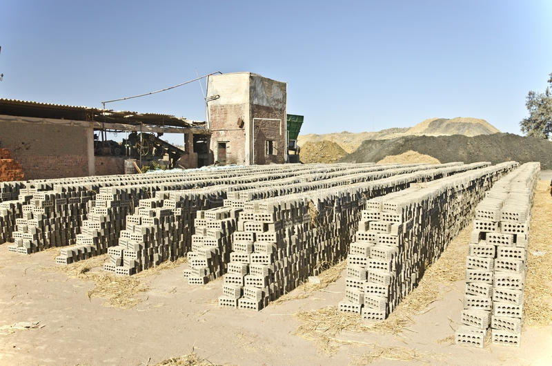 Factory of clay stone brick in Egypt royalty free stock photography