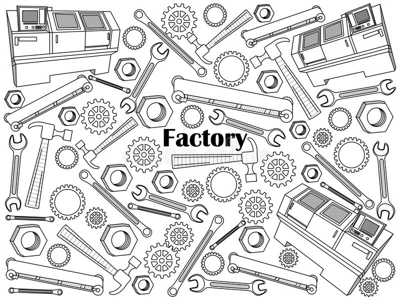 Factory colorless set vector illustration. Factory design colorless set vector illustration. Coloring book. Black and white line art vector illustration