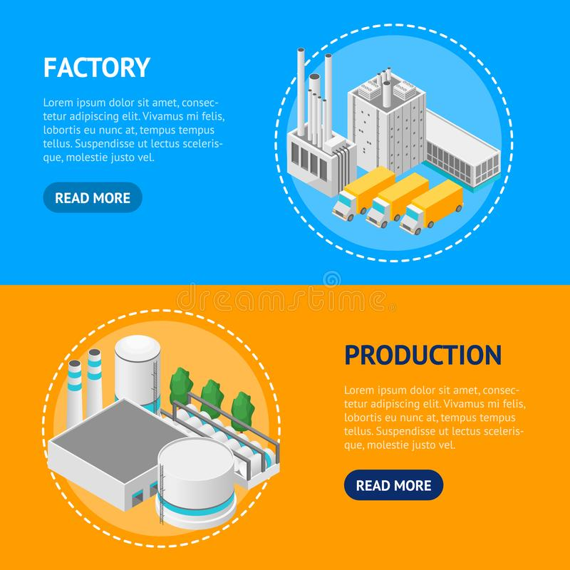 Factory Concept Banner Horizontal Set 3d Isometric View. Vector royalty free illustration