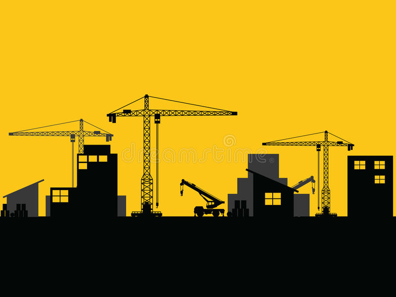 Factory construction site mobile cranes city silhouette. Vector royalty free illustration