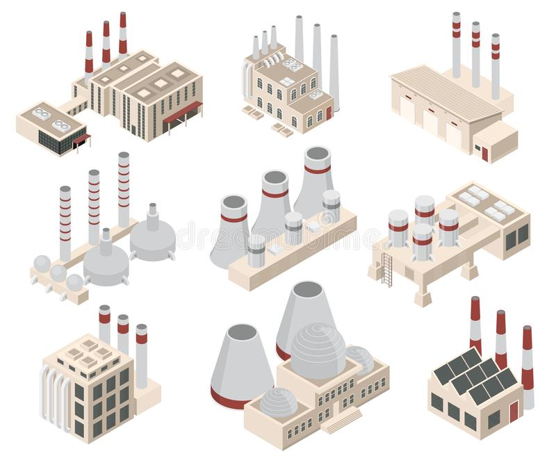 Factory Constructions or Buildings Sign 3d Icon Set Isometric View. Vector. Factory Constructions or Buildings Sign 3d Icon Set Isometric View Plant with Chimney stock illustration