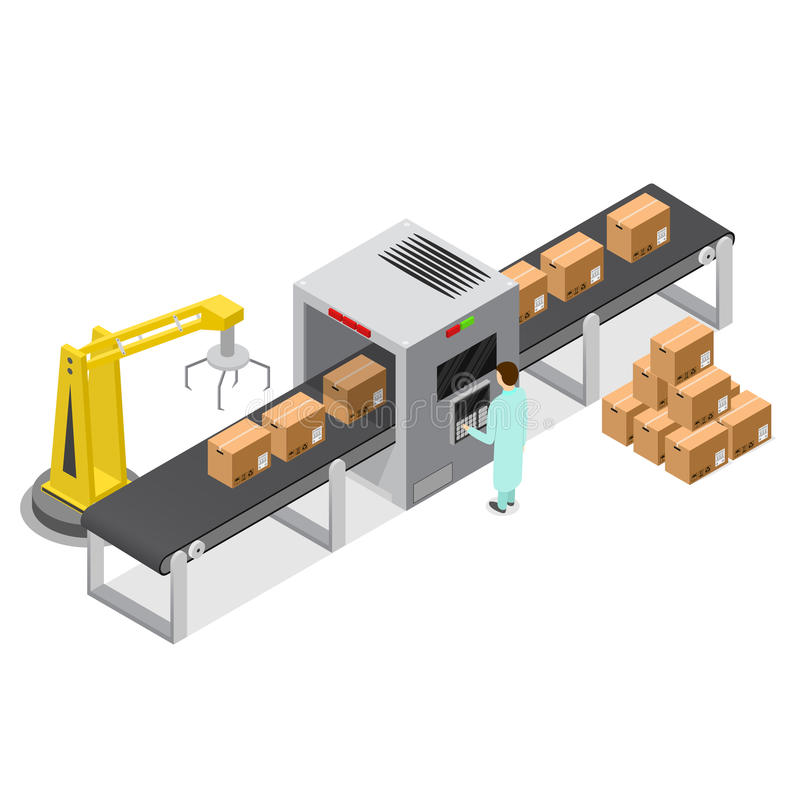 Factory Conveyor System Belt Isometric View. Vector vector illustration
