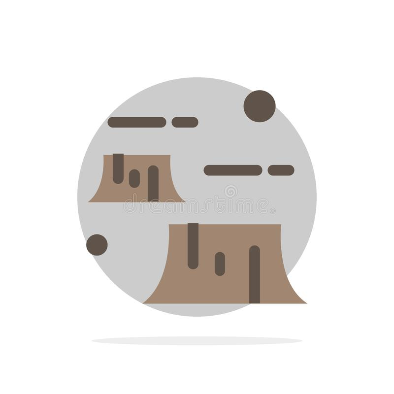 Factory, Damage, Deforestation, Destruction, Environment Abstract Circle Background Flat color Icon royalty free illustration