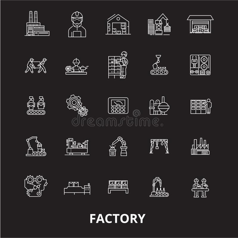 Factory editable line icons vector set on black background. Factory white outline illustrations, signs, symbols vector illustration