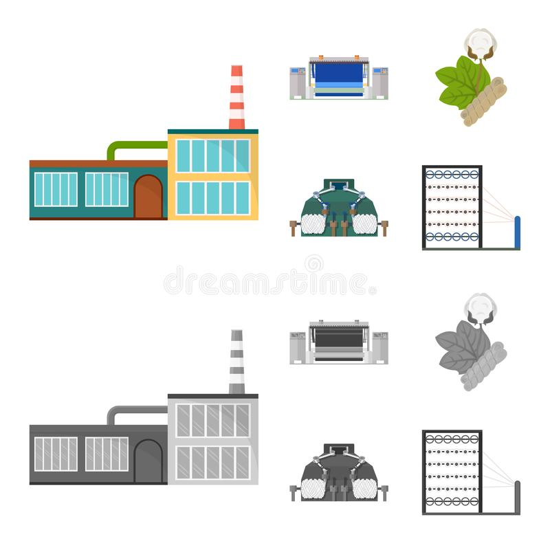 Factory, enterprise, buildings and other web icon in cartoon,monochrome style. Textile, industry, fabric icons in set stock illustration