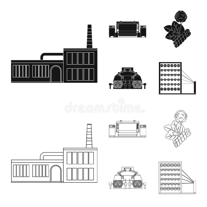 Factory, enterprise, buildings and other web icon in black,outline style. Textile, industry, fabric icons in set vector illustration