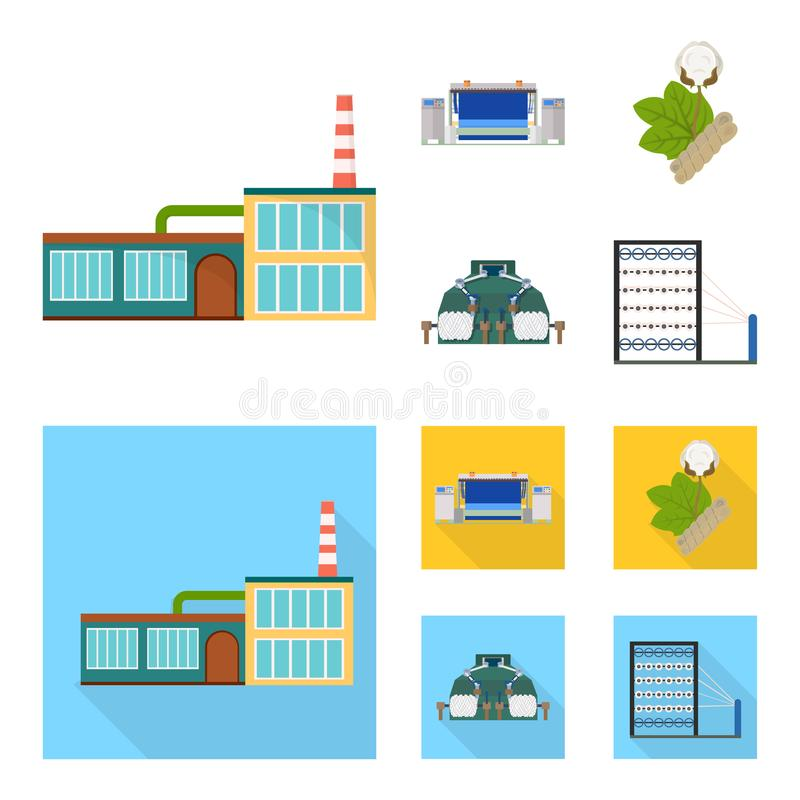 Factory, enterprise, buildings and other web icon in cartoon,flat style. Textile, industry, fabric icons in set stock illustration