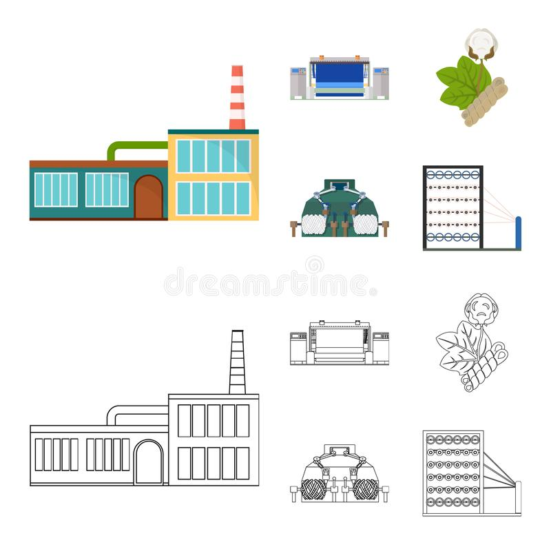 Factory, enterprise, buildings and other web icon in cartoon,outline style. Textile, industry, fabric icons in set vector illustration